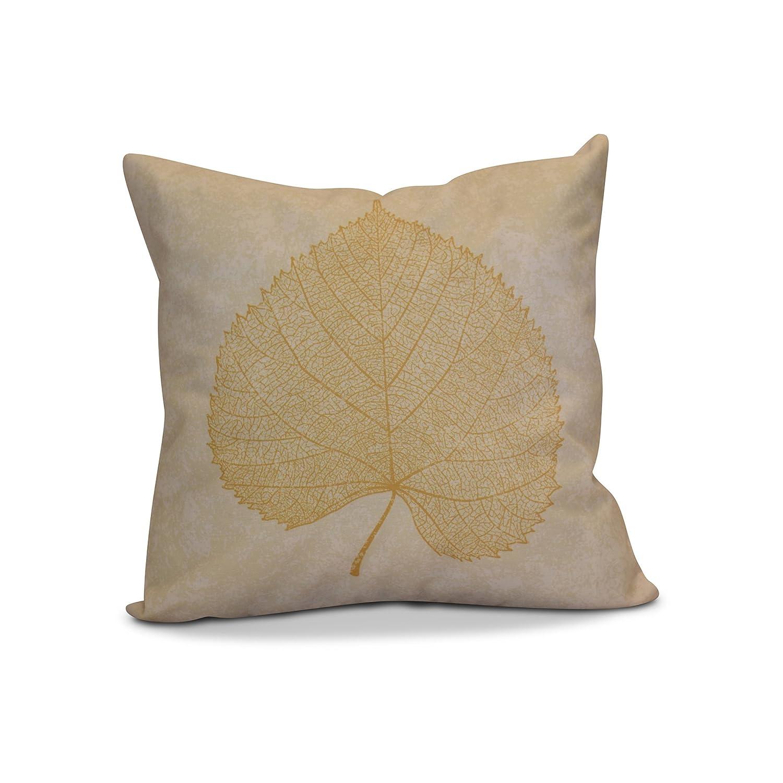 E by design PFN747YE4-26 26 x 26-inch Leaf Study Floral Print Pillow 26x26 Yellow