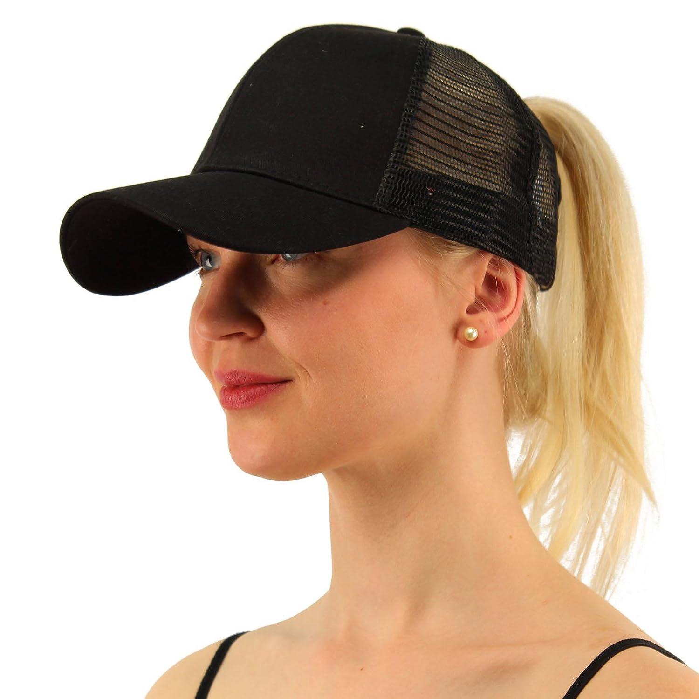 Amazon.com  LEECCO Chic Black Ponytail Baseball Cap Hat for Women Girl  Ponycap Messy High Bun Ponytail Adjustable Mesh Trucker Baseball Cap Hat  for Women ... a9f9f81b5ca6