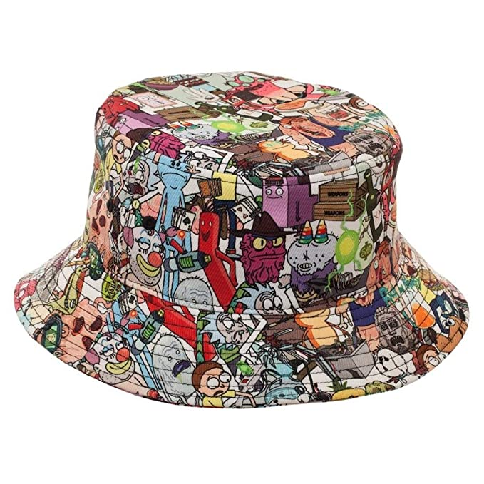 f6eeabb89c928 Image Unavailable. Image not available for. Color  Peaceomind Rick and Morty  All Over Print Cartoon Characters Polyester Adult Bucket Hat