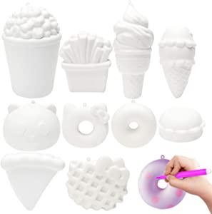 MALLMALL6 10Pcs DIY Slow Rising Food Noveltys Kit Blank Soft Squeeze Set Bulk Art Crafts Kits for Kids Dessert Ice Cream White to Paint 12 Color Pen Sweet Creamy Scented Soft Stress Relief Toys