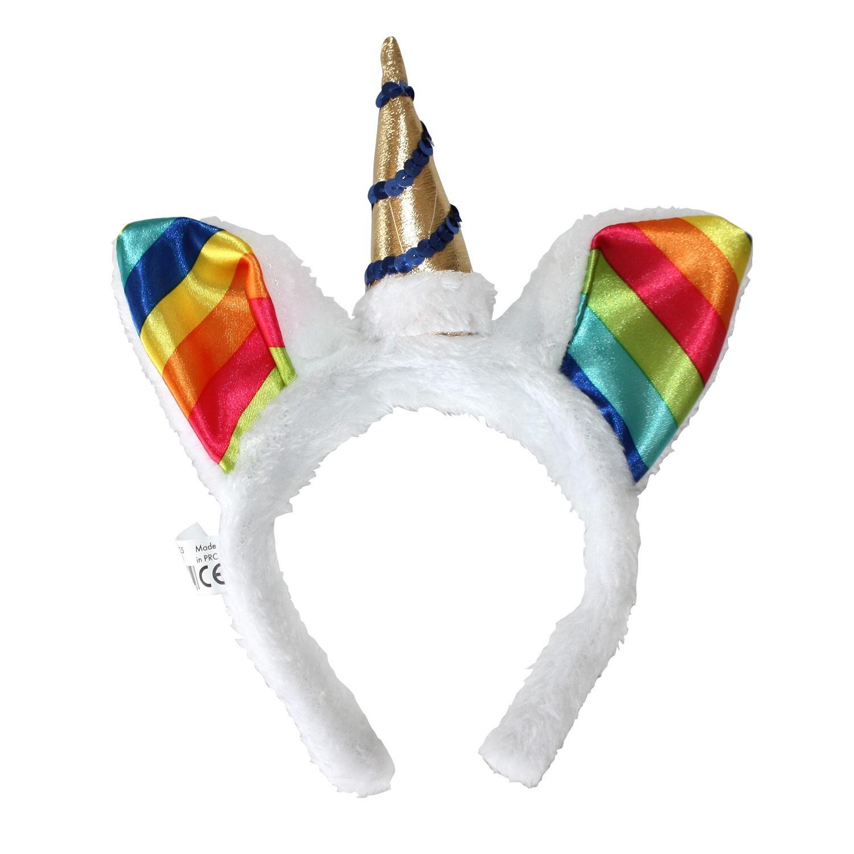 Close Up Einhorn Haarreif in weiß mit Bunten Regenbogen-Ohren, Goldenem Horn und Pailletten für Erwachsene
