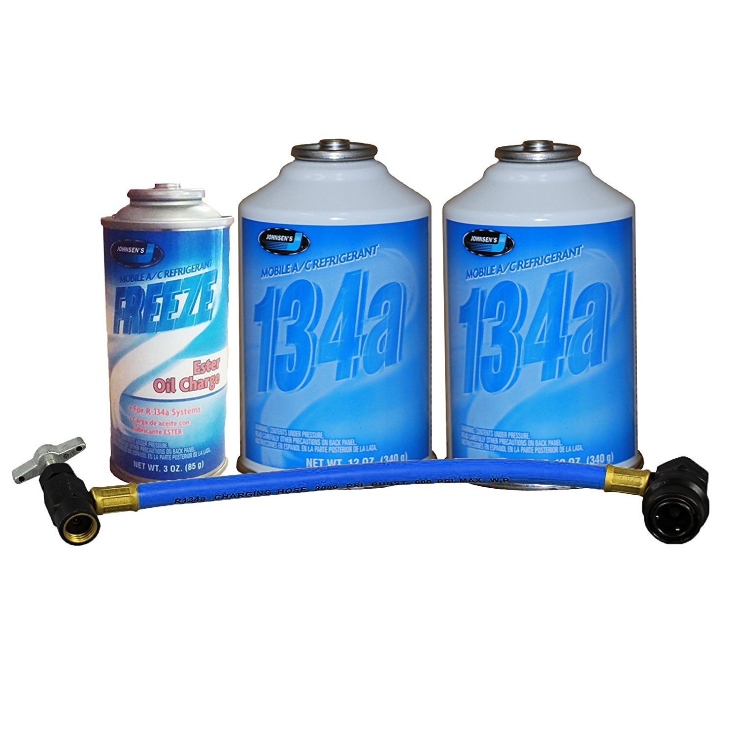 Johnsen's R-134a Quick Charge Kit 2 Cans R-134a Refrigerant, Oil Charge & Can Tap Johnsen' s 2J134_R134OC_R134PCT