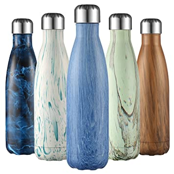 Botella de agua de 500 ml de Liveup SPORTS Aislada al Vacío de Acero Inoxidable Botella de Agua Doble Pared para Mantener sus Bebidas Caliente y Fría, ...