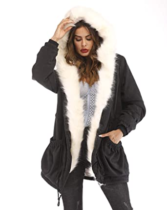 5459f5a08da Aox Women Fashion Winter Coat with Faux Fur Hood Thicken Warm Casual Plus  Size Outdoor Jacket