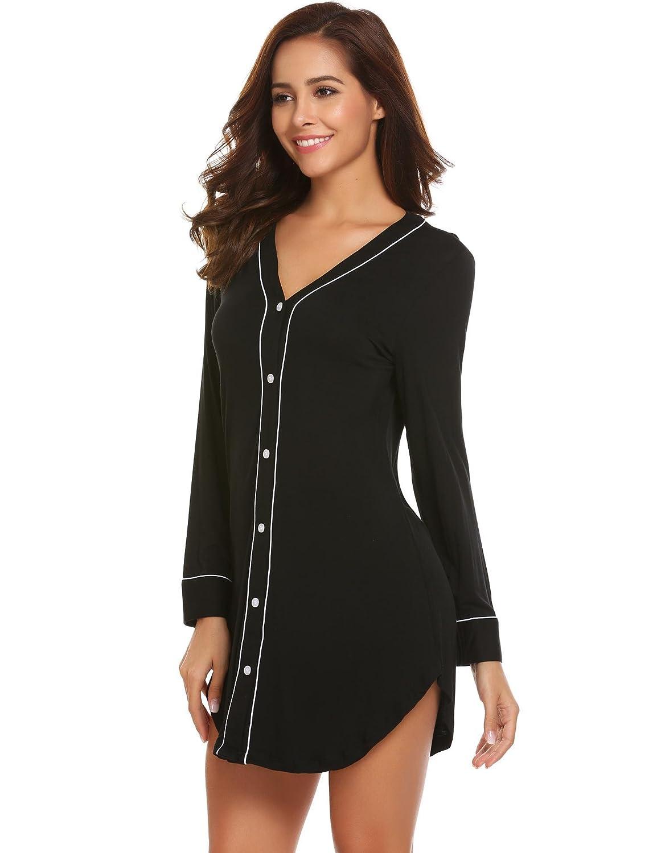 b9ed174f3f Ekouaer Womens Long Sleeve Sleep Shirt V-Neck Loose Nightshirt Sleepwear  Nightgown Pajama PJ S-XXL at Amazon Women s Clothing store