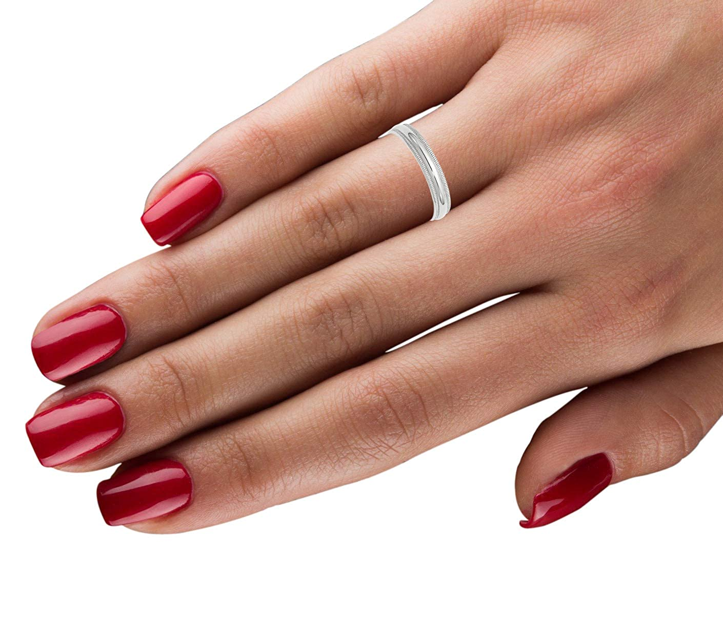 10k White Gold 4mm LTW Milgrain Half Round Band Fine Jewelry Ideal Gifts For Women