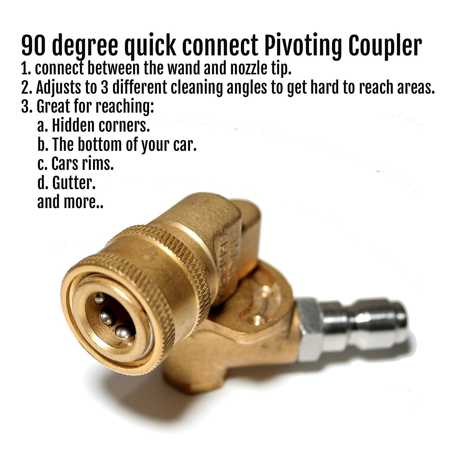 """Quick Connecting Pivoting Coupler Adapter for Pressure Washer Nozzles, Cleaning Hard to Reach Areas, 1/4"""" Plug, 4500 PSI 90 Degree"""