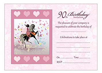 Image Unavailable Not Available For Colour Girl And Horse 90th Birthday Party Invitations