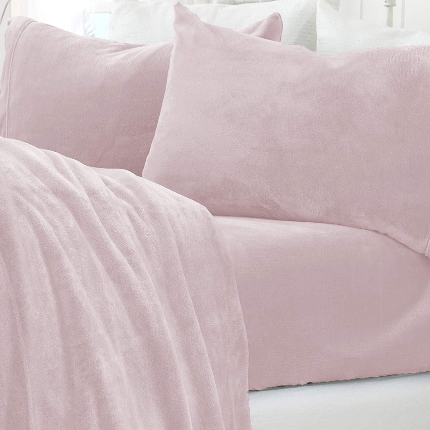 Micro Fleece Extra Soft Cozy Velvet Plush Sheet Set. Deluxe Bed Sheets with Deep Pockets. Velvet Luxe Collection (Queen, Blush Pink)
