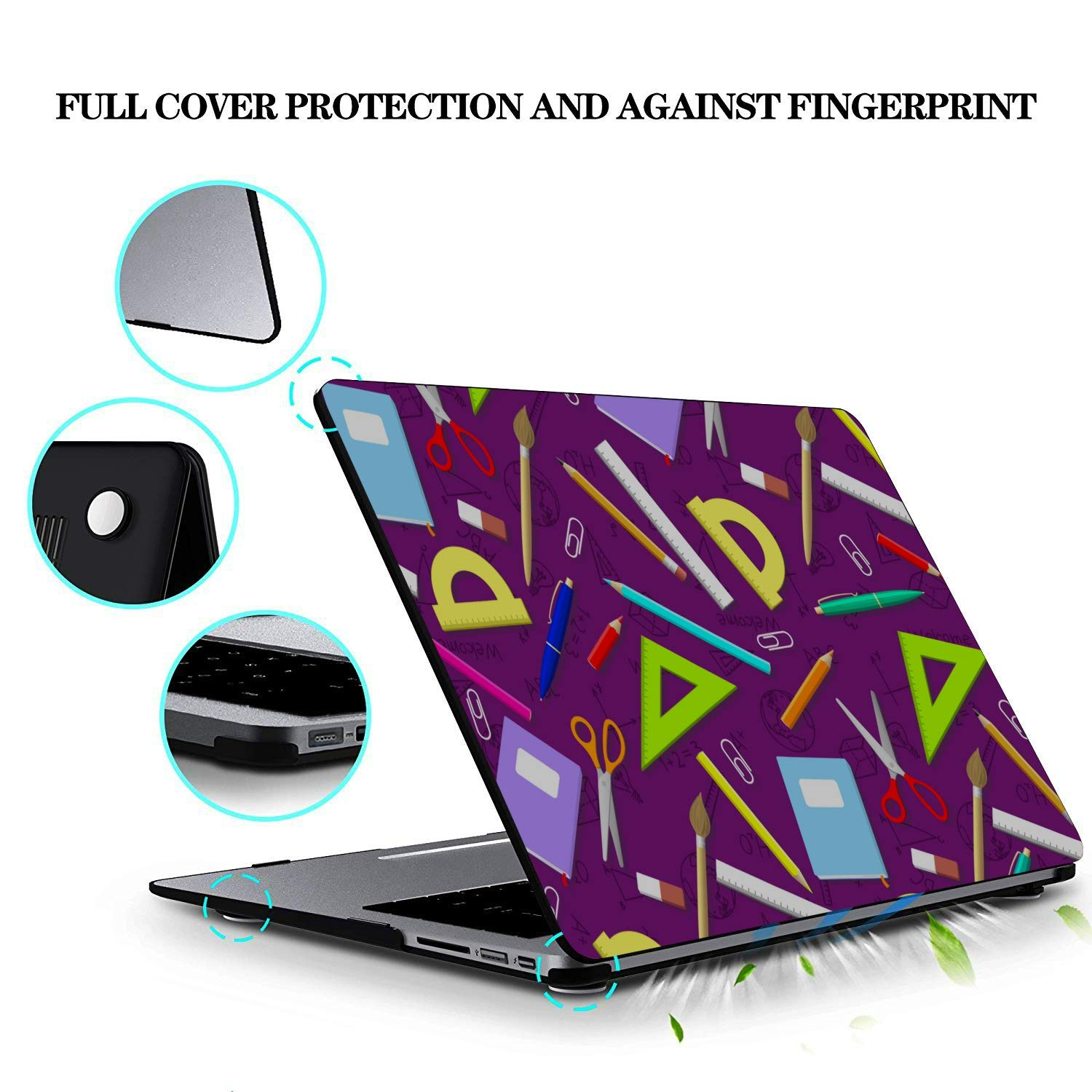 Mac Cases School Supplies Cute Stationery Bag Plastic Hard Shell Compatible Mac Air 11 Pro 13 15 New MacBook Air Case Protection for MacBook 2016-2019 Version