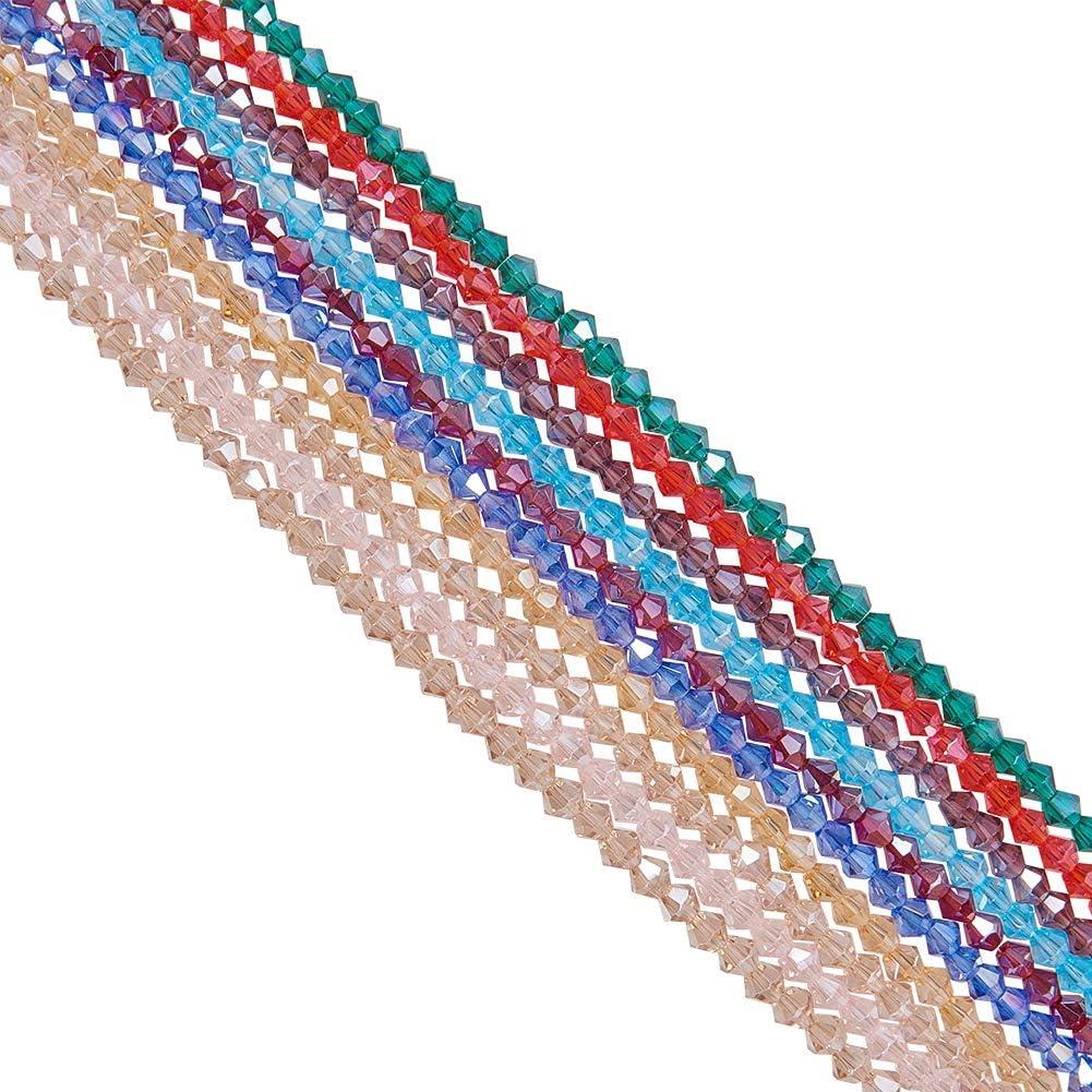 NBEADS 10 filamentos 4 mm Perlas de Vidrio facetado AB Color Plateado Cristal Bicone Cuentas para la fabricación de Joyas, 4x4 mm, Color Mixto