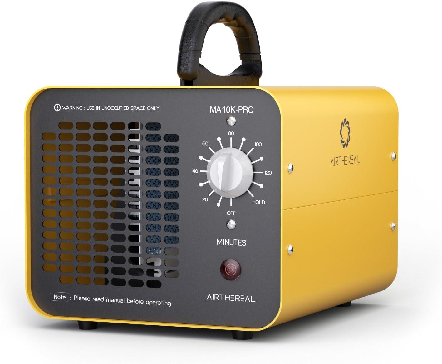 Airthereal MA10K-PRO 10,000mg / HR Generador de ozono Industrial Asesino de olores con Temporizador para Habitaciones, hoteles, Autos, Mascotas, Humo y Granjas, Aluminum, Amarillo
