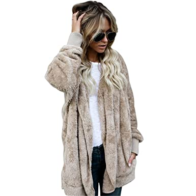 d2eabf0f6 Amazon.com: Joddie Haha Fashion Faux Fur Jacket Teddy Bear Coat Women Open  Stitch Hooded Coat Female Autumn Fuzzy Long Sleeve Jacket: Clothing