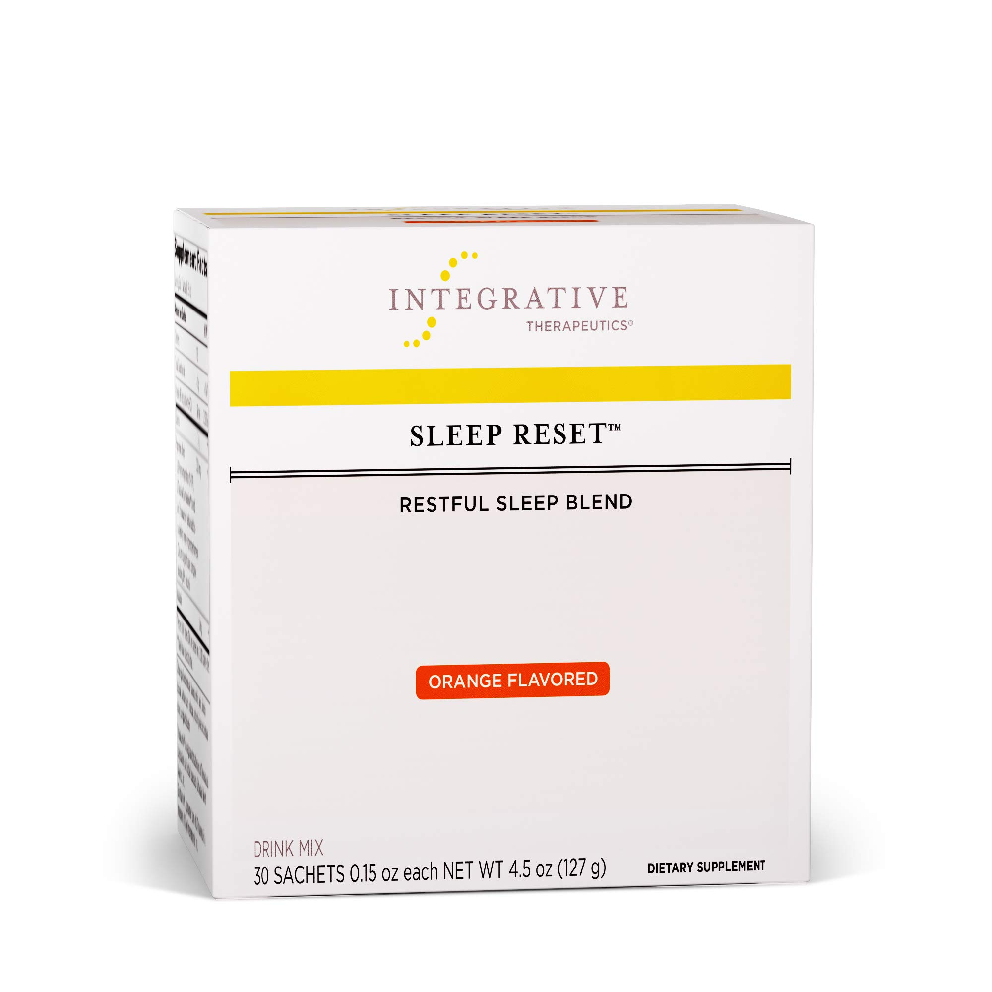 Integrative Therapeutics - Sleep Reset - Restful Sleep Blend - Melatonin, Glycine, L-Theanine, 5-HTP, Theracurmin, and More to Support Sleep & Healthy Stress Response - Orange Flavor - 30 Sachets