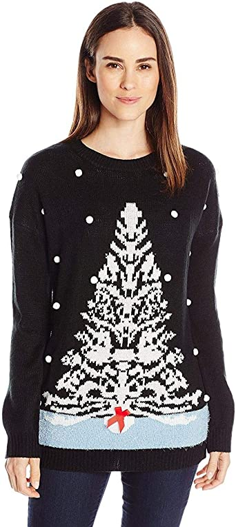 Notations Women's White Tree Ugly Christmas Sweater with 3D Snow