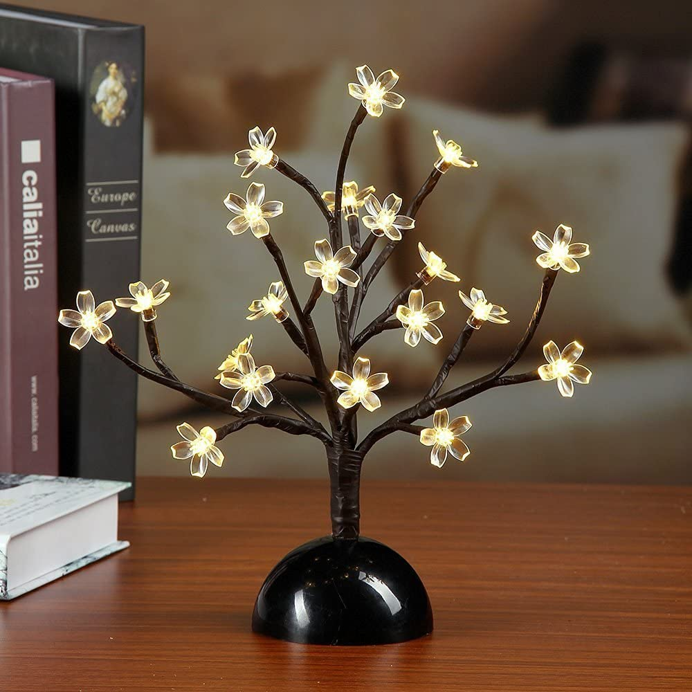 Lightshare 12Inch 20LED Cherry Blossom Bonsai Light,Warm Light,Battery Powered for Home Decoration, Night Light