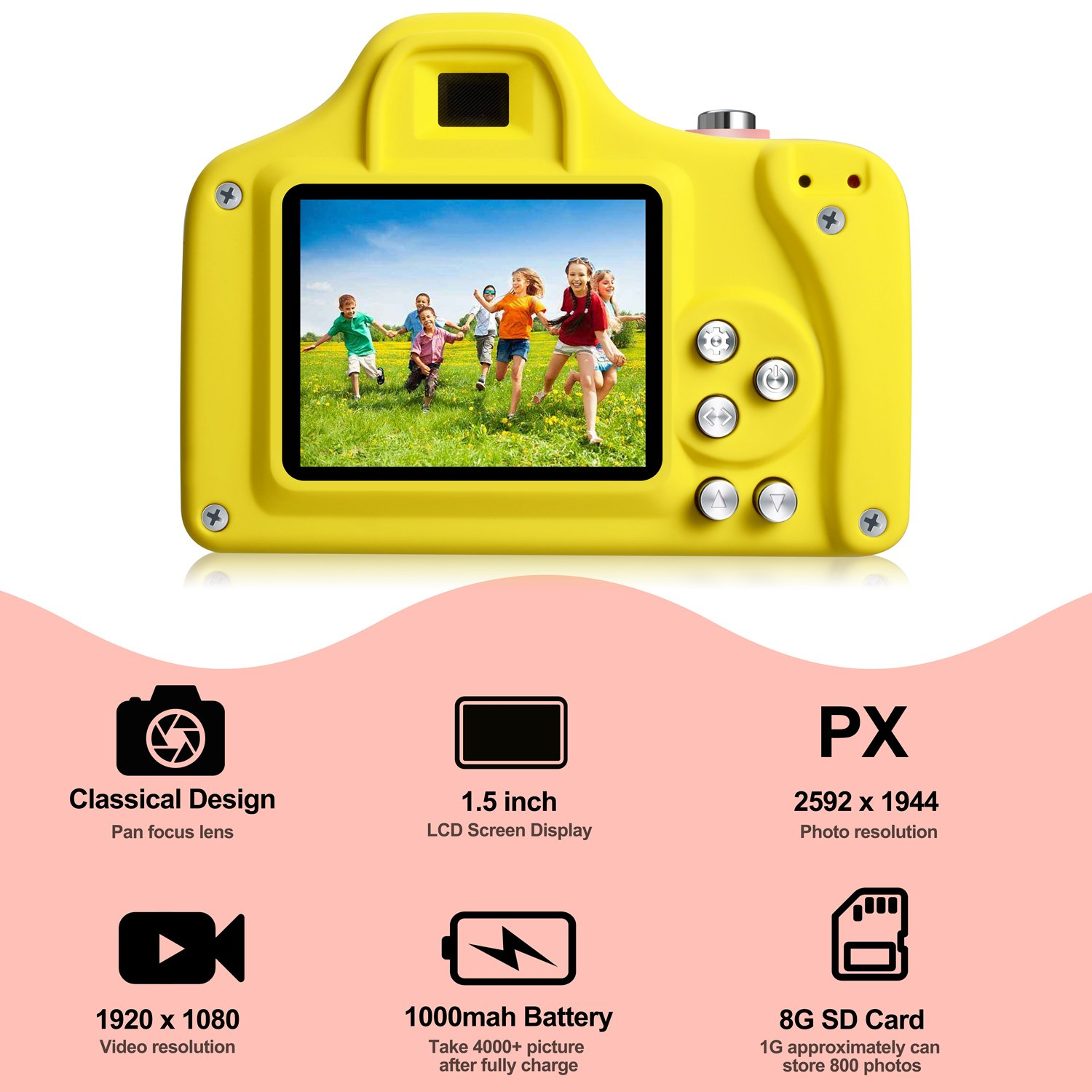 TURN RAISE Kids Digital Camera Mini 1.5 Inch Screen Children's Camera, 1080P HD Video Recorder, Toddler Digital Camera with 8GB Micro SD Card & Card Reader for Girls/Boys (Pink) by TURN RAISE (Image #2)