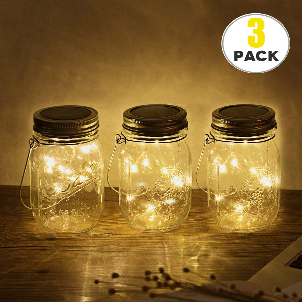 3Pack Solar Mason Jar Lights , Solar Lantern 20Leds, Outdoor Glass Hanging String Lamp, Fairy Decoration for Garden Patio Yard Home (3Pack Warmwhite)