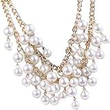 Elegant Women's Multi-Row Torsade Fringe White Pearl Bead Chain Bib Necklace