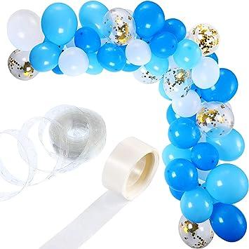 Tatuo Kit de Guirnalda de Globos de 112 Piezas Guirnalda de Arco de Globos para Decoración de Boda Cumpleaños Fiesta (Blanco Azul)