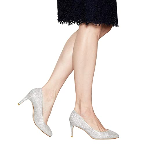 19bcd5639c7 Debut Womens Silver Glittered High Stiletto Heel Court Shoes 8 ...