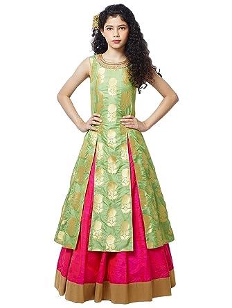 c66c583c13c Cartyshop Girl s Pista Green jequard Silk N Rani Silk lehenga Indo Western  Style ReadyMade Wedding Wear