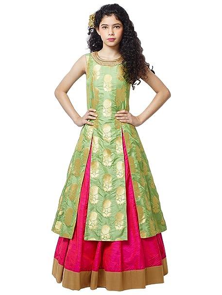 14ddaa251f Cartyshop Girl s Pista Green jequard Silk N Rani Silk lehenga Indo Western  Style ReadyMade Wedding Wear