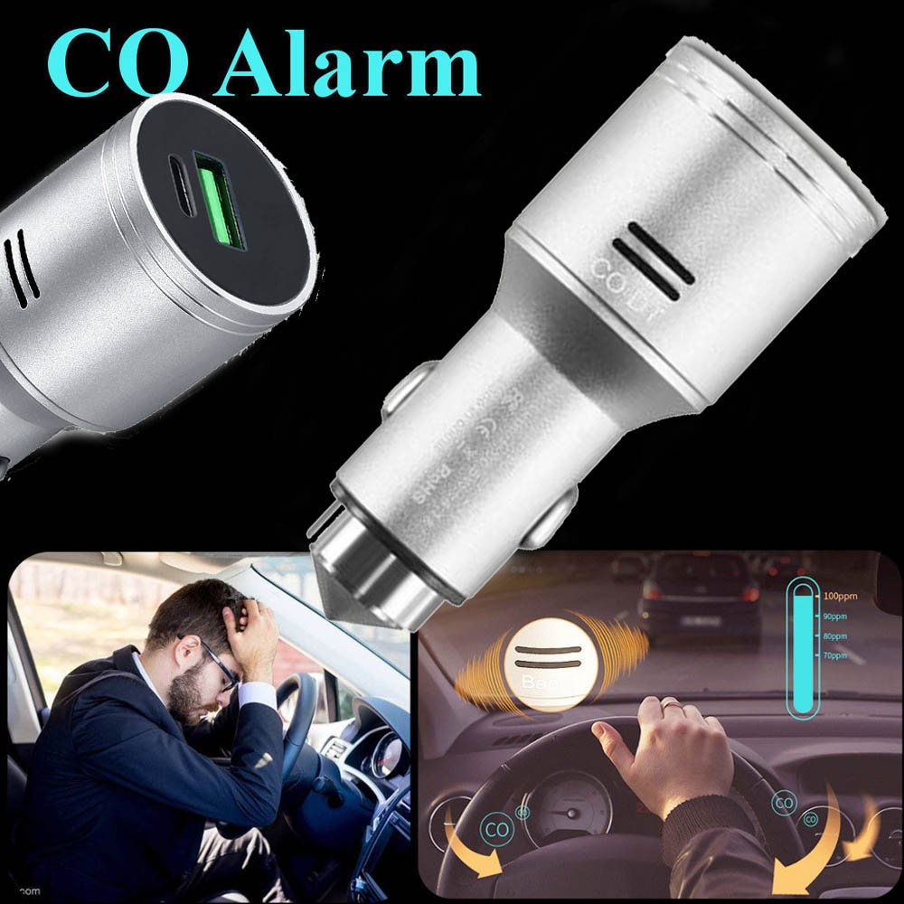 Stainless Steel Car Carbon Monoxide Detector, Quick Charge 3.0 USB Type C Fast Car Charger Adapter, CO Alarm Detector with Emergency Glass Breaker(Silver) by FASOHERE (Image #5)