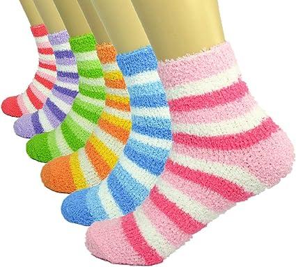 3-10 Pairs Women Super Soft Cozy Fuzzy Winter Home Slipper Socks 9-11 Ankle