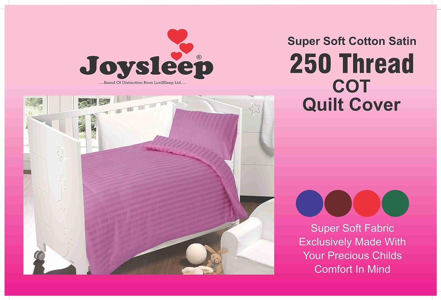 Love2Sleep ULTIMATE LUXURY 250 TC COTTON SATIN COT BED DUVET COVER & PILLOWCASE SET SATIN STRIPE PINK