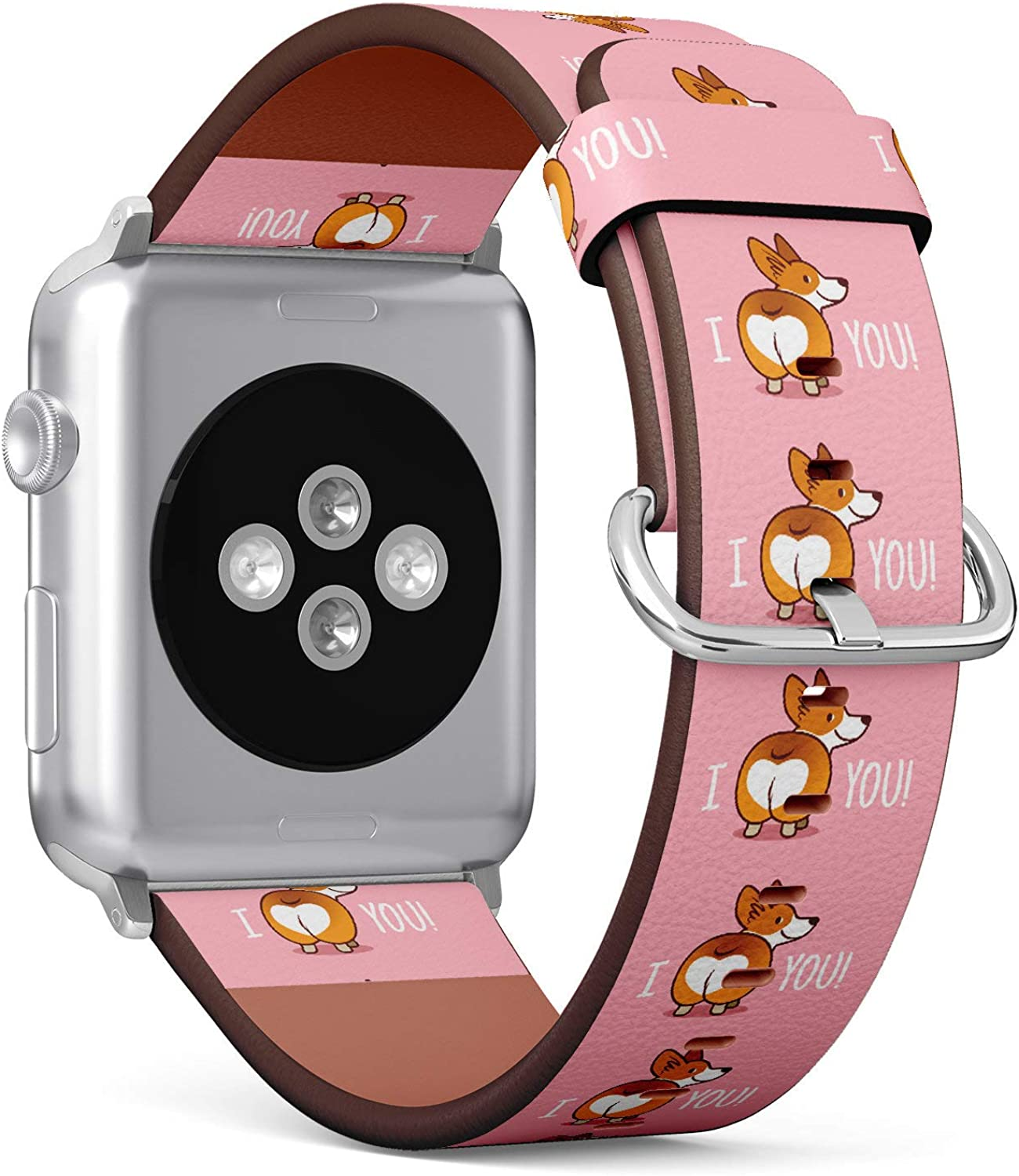 (Funny Corgi I Butt You) Patterned Leather Wristband Strap for Apple Watch Series 4/3/2/1 gen,Replacement for iWatch 38mm / 40mm Bands