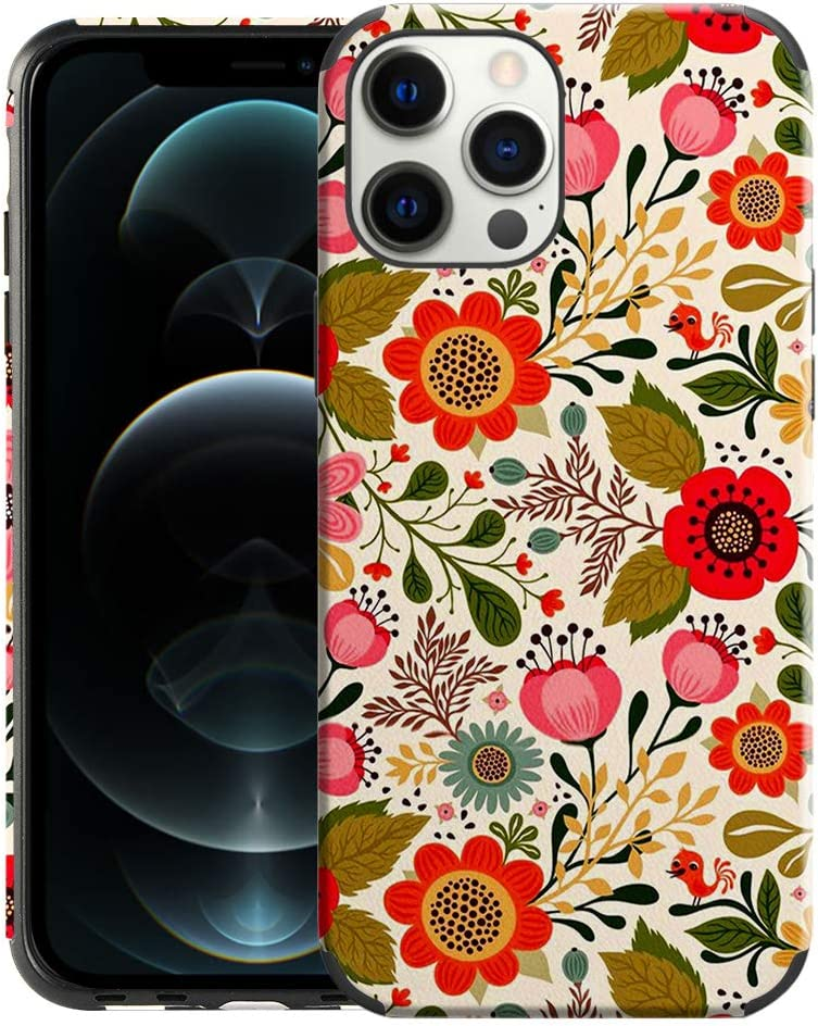CUSTYPE Case for iPhone 12 Pro Max 2020, iPhone 12 Pro Max Case Floral, Flower Pattern Leather Soft TPU Slim Bumper Girls Protective Cover for iPhone 12 Pro Max 5G 6.7 Inch, Secret Garden