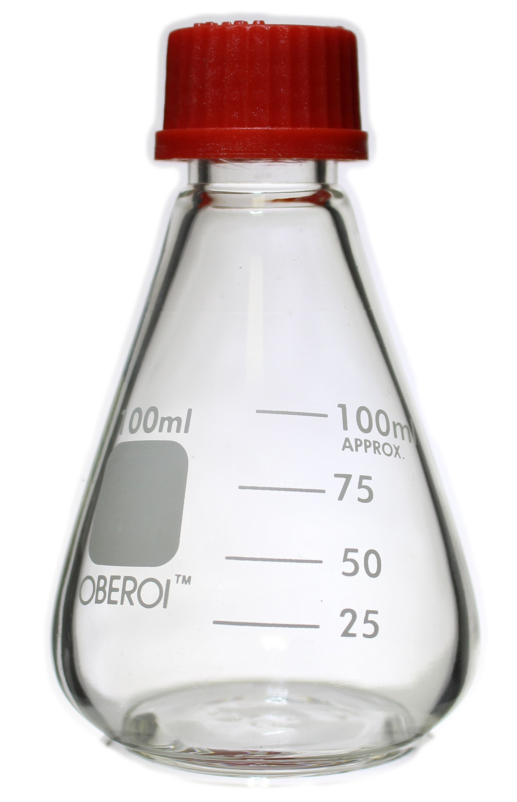Erlenmeyer Flasks with Screw Caps Set, 1000 mL, 500mL, 250 mL, 100 mL, Graduated Borosilicate 3.3 Glass