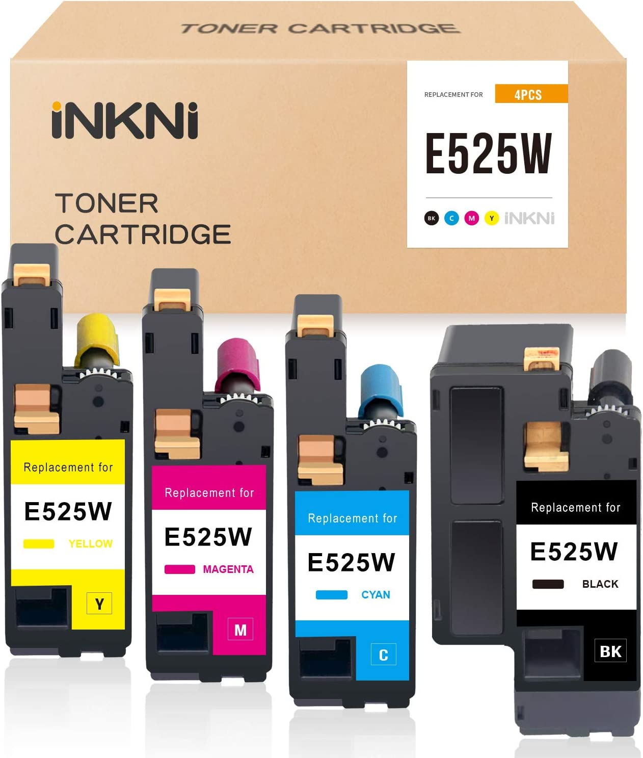 INKNI Compatible Toner Cartridge Replacement for Dell E525W E525 525w for E525dw Wireless Color Printer for 593-BBJX 593-BBJU 593-BBJV 593-BBJW (Black Cyan Magenta Yellow, 4 Pack)