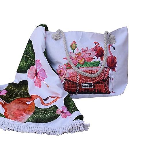 forneret Bolso grande+toalla redonda flamencos+monedero conjunto barato: Amazon.es: Zapatos y complementos