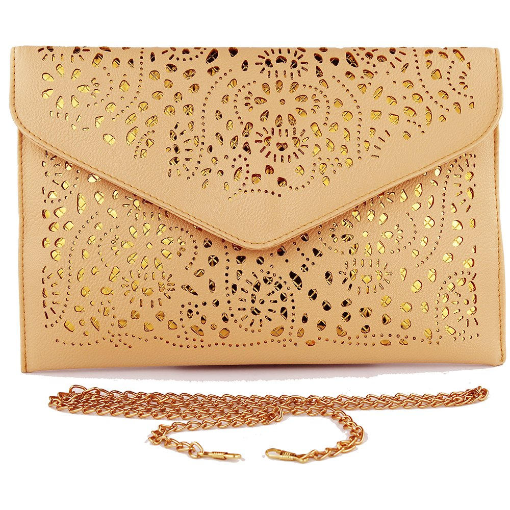 new fashion vintage envelope clutch purse clutches women bags for women 2017 evening clutch bags womens handbags and purses evening purses clutches brown handbag for women hollow out (light brown)