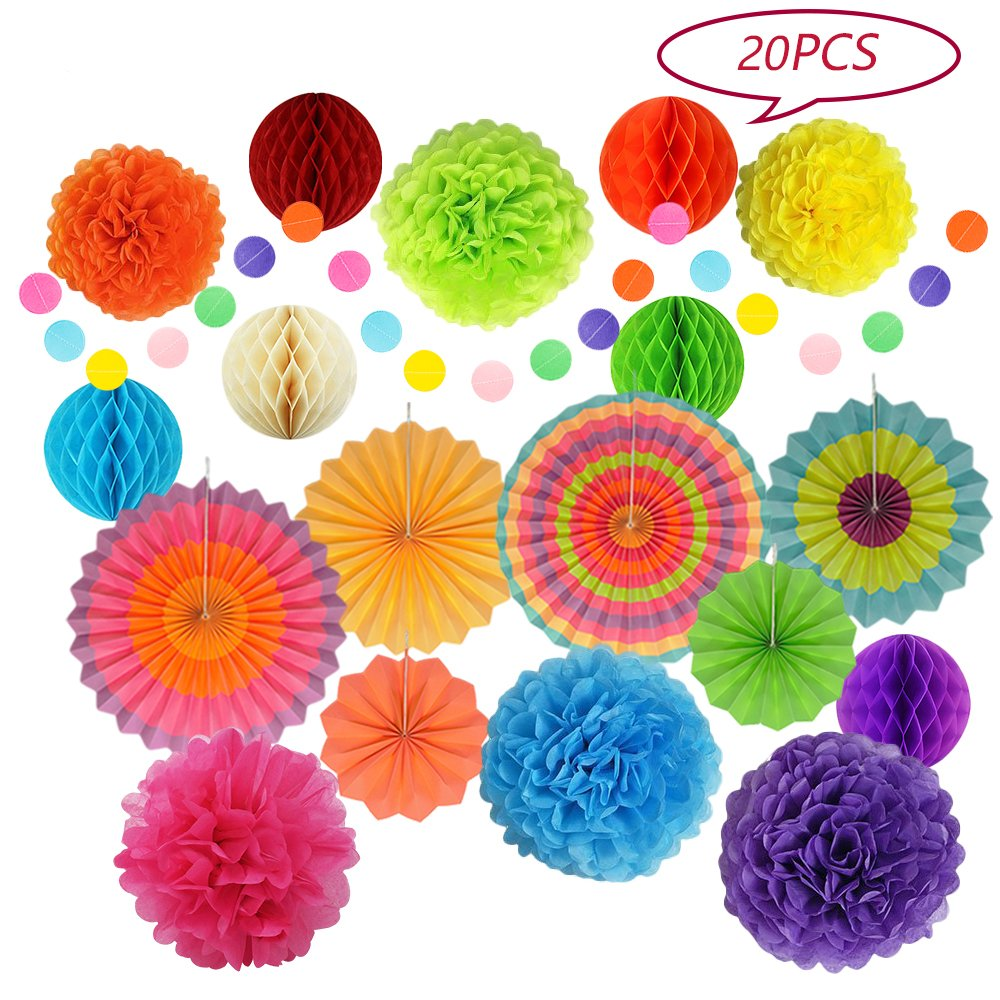 Maxican Fiesta Party Decorations, Paper Fans, Pom Poms, lantern and Rainbow Party Supplies for Birthdays, Cinco De Mayo, Festivals, Carnivals, Graduation,Wedding (20 Pieces)