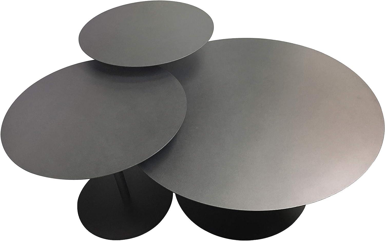 "Leisure Space 3-pcs Round Metal Coffee Table Set, Black Powder Coating Finish(18""/20""/30"")"