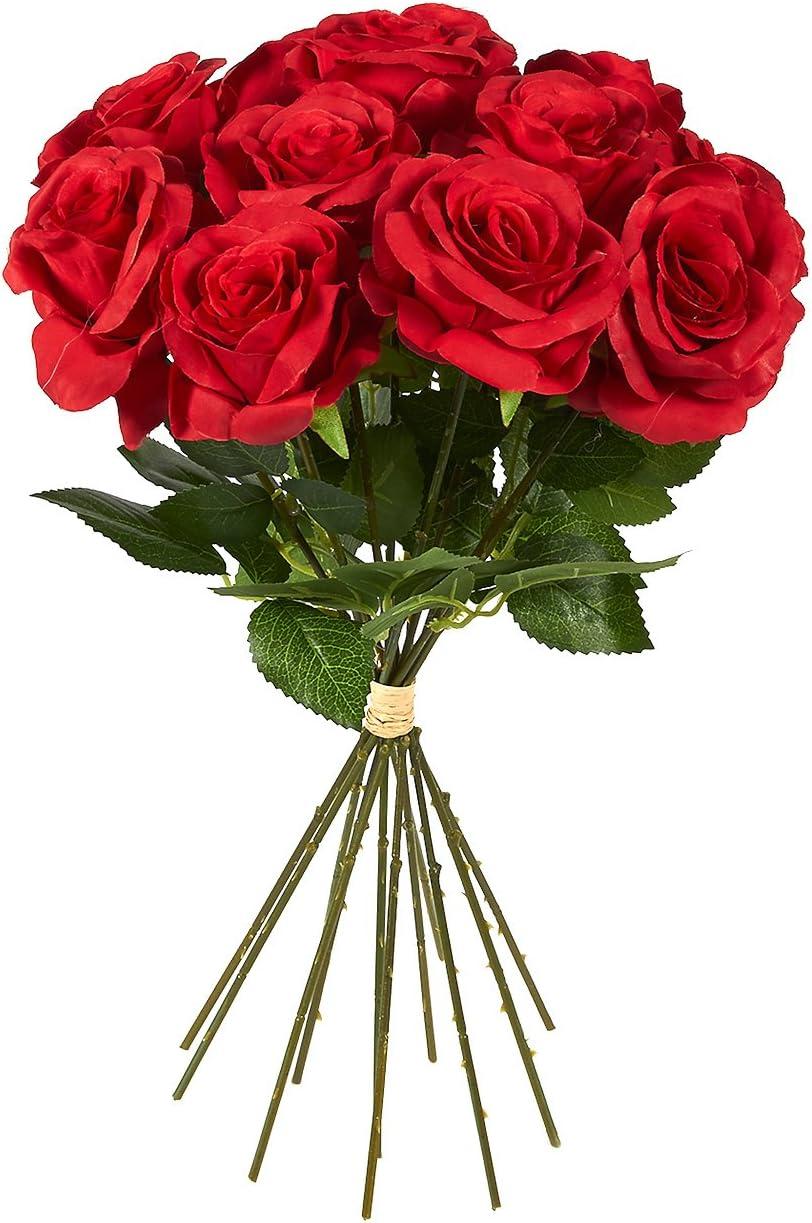 Juvale - Ramo de 12 rosas rojas artificiales de seda, ideales para bodas, día de San Valentín, centros de mesa y decoración del hogar, de 44 x 7,6 x 7,6 cm