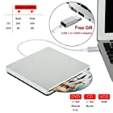 External CD DVD Drive NOLYTH Slot-in USB 3.0 Type-C CD DVD +/-RW Drive External CD DVD Player Reader Burner for Laptop/Mac/Macbook Pro/Air/Windows made with Alumium Alloy with Protactive Storage Case