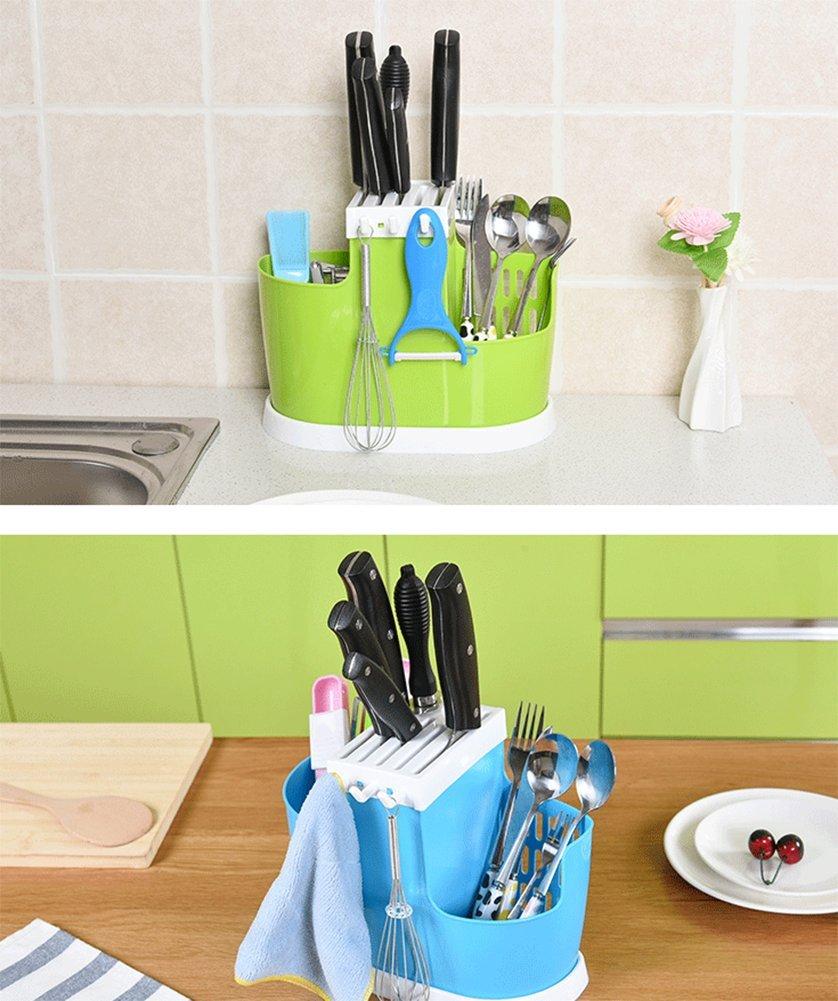 JUNGEN Cocina Rack Cubiertos de Drenaje Rack Portacuchillos Palillos Titular Estante de Almacenamiento de Cocina Beige