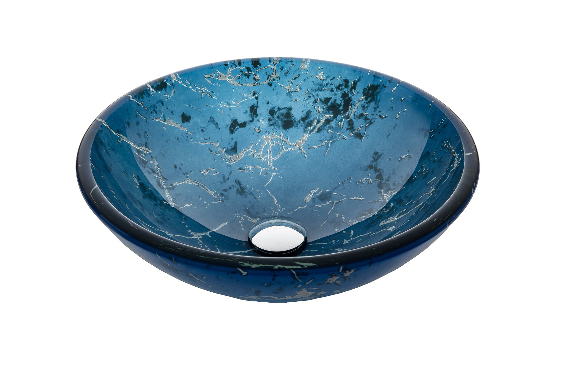 Jano JGV17 Blue Marble Tempered Glass Vessel Bathroom Sink With Pop-up Drain