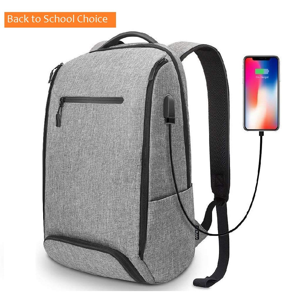 Backpack REYLEO Backpack for Men Fits 15.6 Inch Laptop, with Shoe Compartment, External USB Charging Port, Water Resistant, for Travel Business Trip Work School College, 22L,Gey RB06