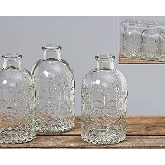 16c10f4c9fbd Set of 3 vintage style embossed clear glass flower vases table decorations