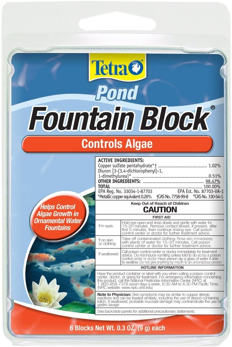 Tetra Pond Fountain Block 6 Count, Controls Algae Growth In Ornamental Fountains