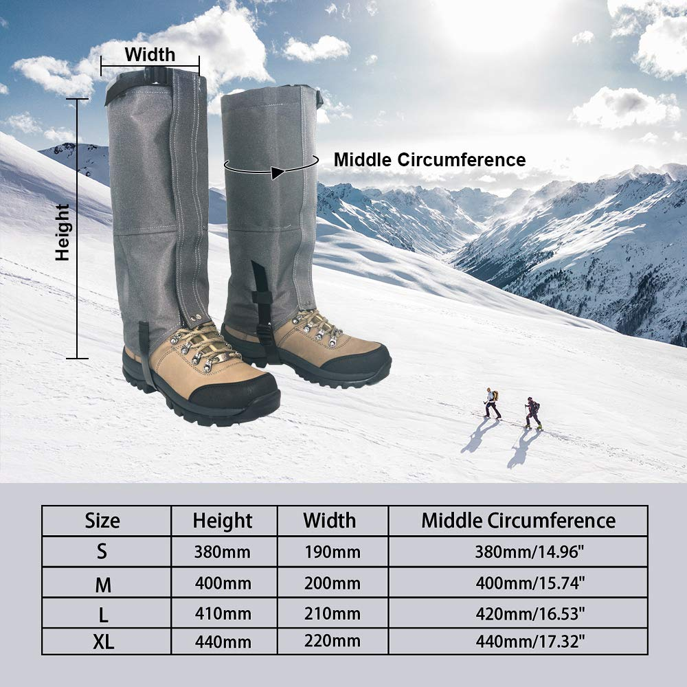 Leanking Leg Gaiters, Waterproof Snow Boot Gaiters 600D Anti-Tear Oxford Fabric Outdoor Waterproof Snow Leg Gaiters for Outdoor Hiking Walking Hunting Climbing Mountain (Gray, S) by Leanking (Image #2)