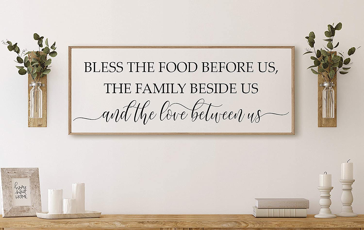 Bless the food before us sign kitchen decor dining room prayer wall framed sign