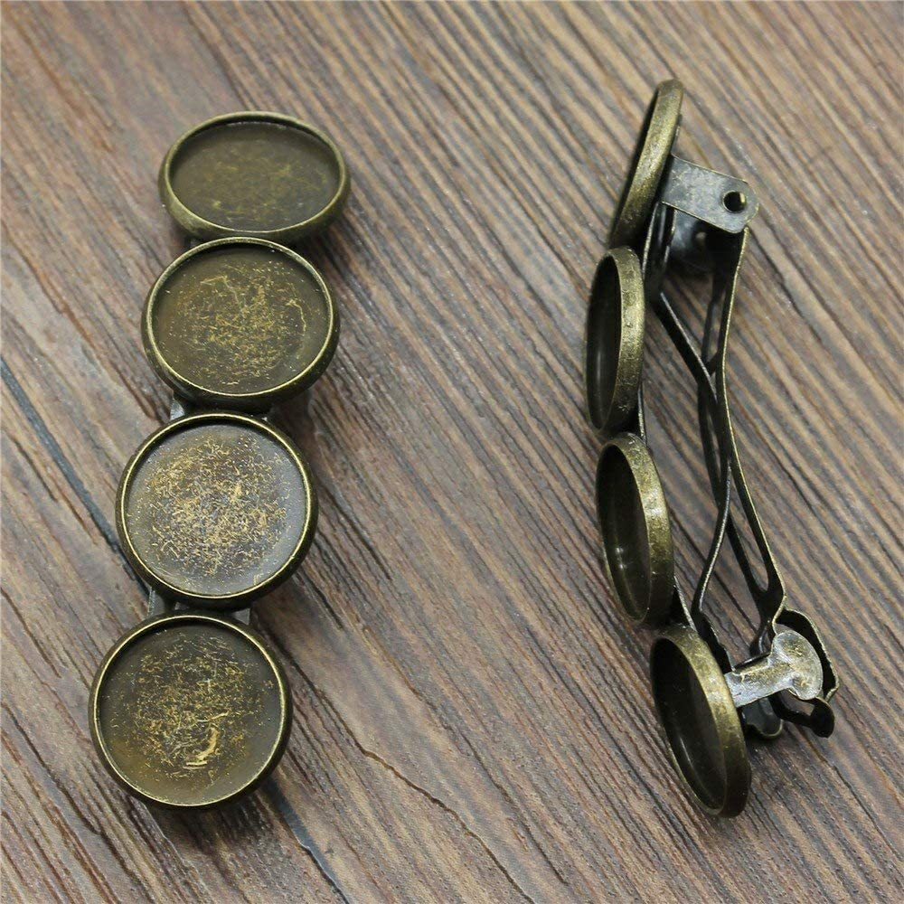 MEWME 10pcs Spring Hairpin Barrettes Hair Jewelry Fit 12mm Round Resin Cabochon Stone Brass Cameo Bezels Tray Creative Gift Handmade Jewelry Materials H551