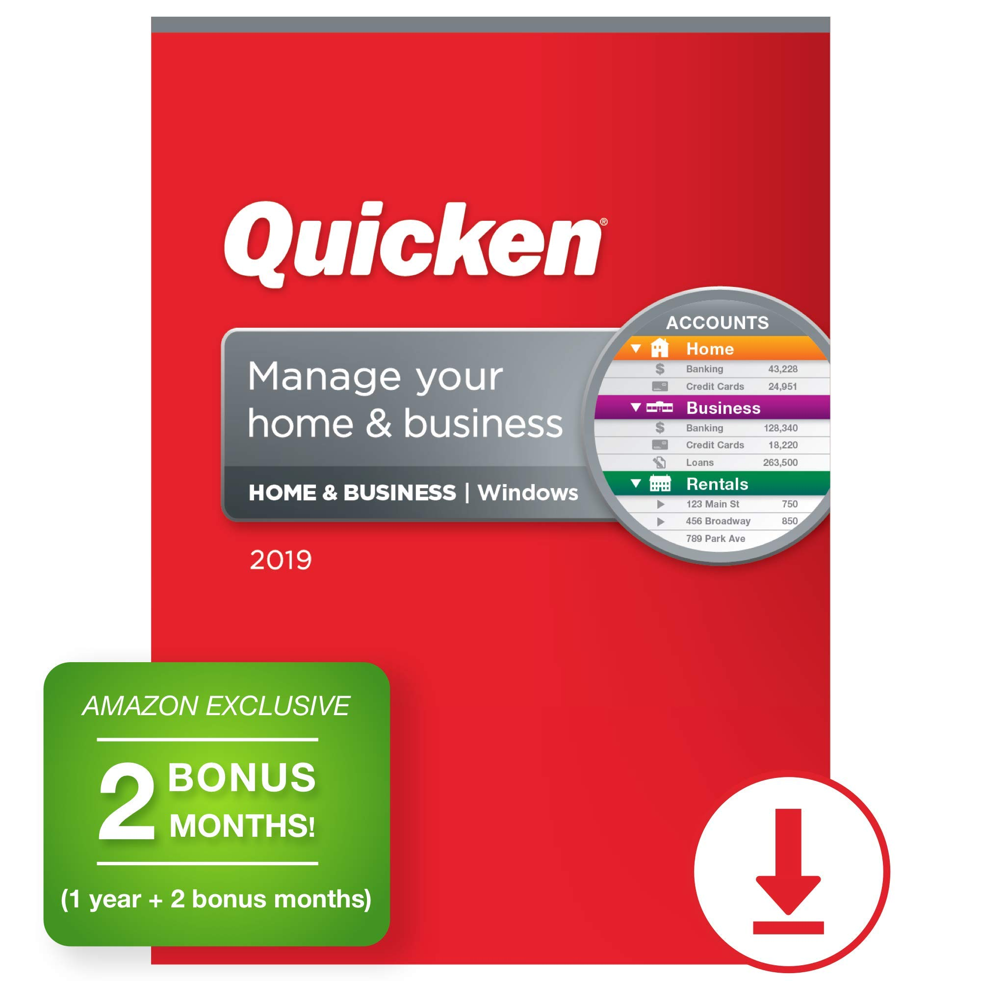 Quicken Home & Business 2019 Personal Finance & Small Business Software [PC Download] 1-Year Subscription + 2 Bonus Months [Amazon Exclusive] by Quicken