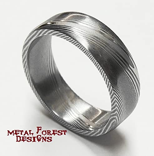 ring wedding hammered lines steel band damascus double rings img lay outer product men rock